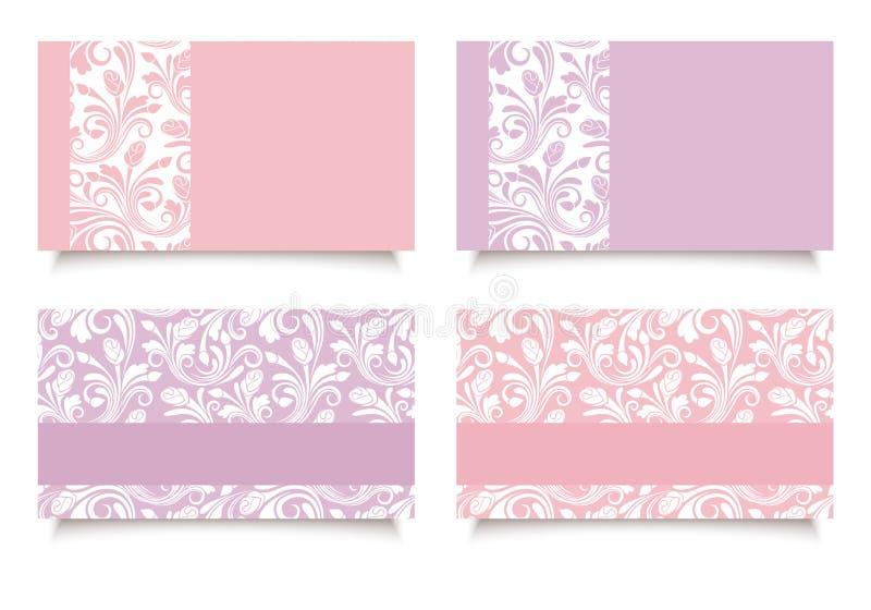 Ρόδινες και πορφυρές επαγγελματικές κάρτες με τα floral σχέδια Διάνυσμα eps-10 διανυσματική απεικόνιση