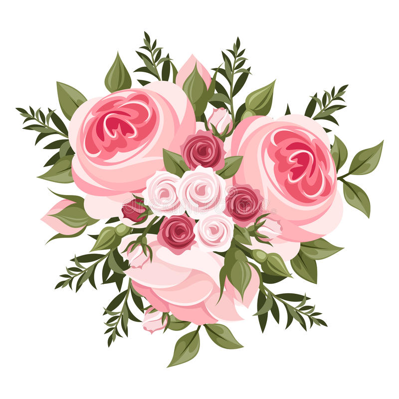 Ρόδινη ανθοδέσμη τριαντάφυλλων. απεικόνιση αποθεμάτων