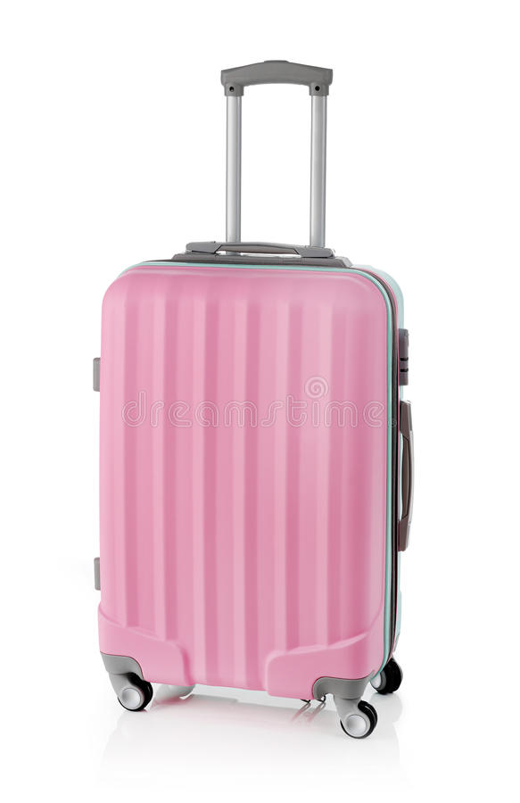 ρόδινη βαλίτσα στοκ εικόνα
