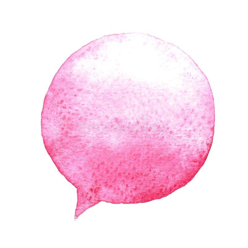 Ρόδινη λεκτική φυσαλίδα watercolor που απομονώνεται στο άσπρο υπόβαθρο Συρμένος χέρι λεκές χρωμάτων διανυσματική απεικόνιση