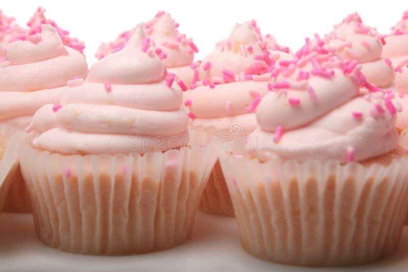 Ρόδινη λεμονάδα Cupcakes στοκ φωτογραφίες