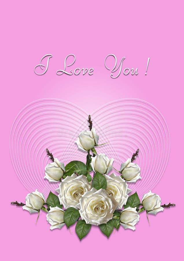 Ρόδινη ευχετήρια κάρτα με μια ανθοδέσμη των άσπρων τριαντάφυλλων ελεύθερη απεικόνιση δικαιώματος