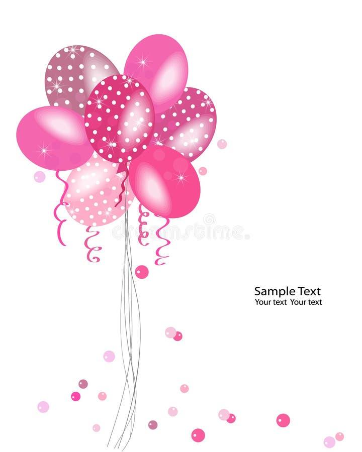 Ρόδινη διανυσματική ευχετήρια κάρτα μπαλονιών σημείων Πόλκα διανυσματική απεικόνιση