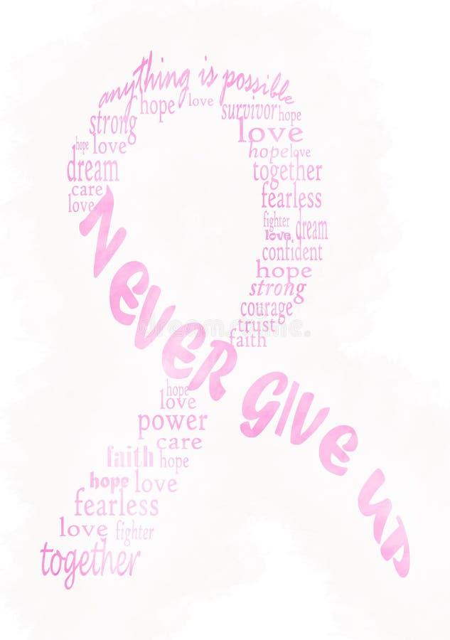 Ρόδινη κορδέλλα συνειδητοποίησης καρκίνου του μαστού - watercolor ελεύθερη απεικόνιση δικαιώματος