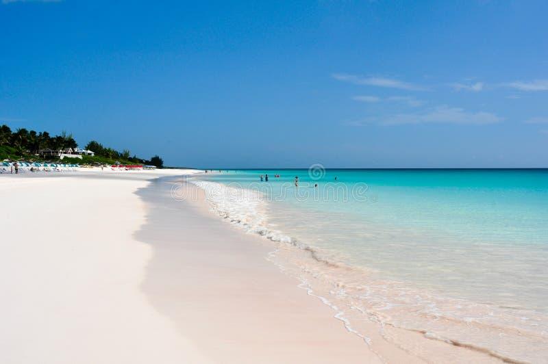 Ρόδινη παραλία άμμου στοκ εικόνες