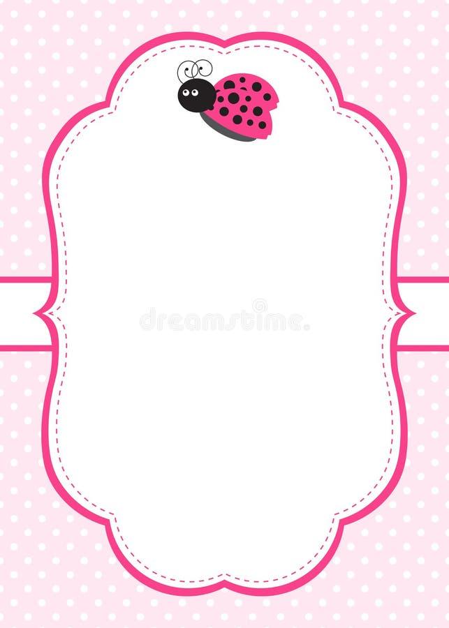 Ρόδινη πρόσκληση Ladybug διανυσματική απεικόνιση