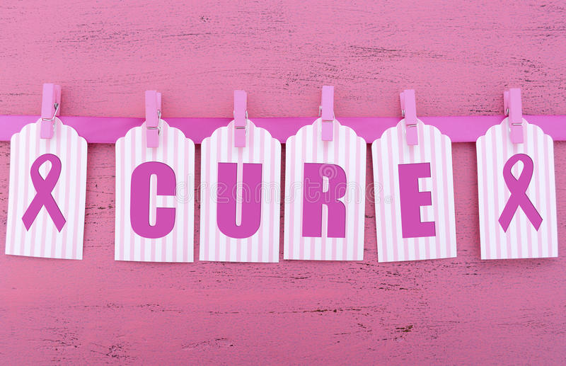 Ρόδινη φιλανθρωπία κορδελλών για το μήνυμα θεραπείας συνειδητοποίησης υγείας των γυναικών στοκ εικόνες