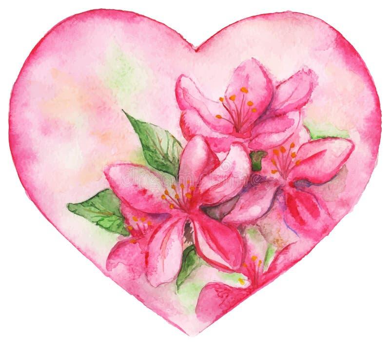 Ρόδινη floral καρδιά αγάπης κρίνων ρομαντική διανυσματική απεικόνιση