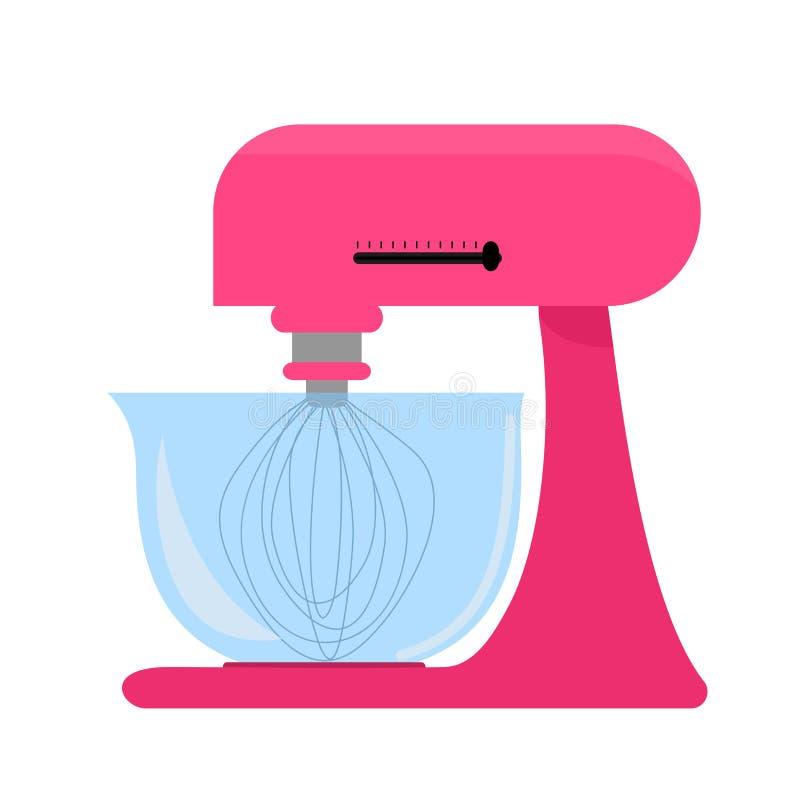 Ρόδινος αναμίκτης κουζινών με το κύπελλο απεικόνιση αποθεμάτων