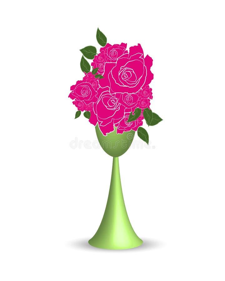 Ρόδινος αυξήθηκε λουλούδι στον εικονογράφο βάζων ελεύθερη απεικόνιση δικαιώματος
