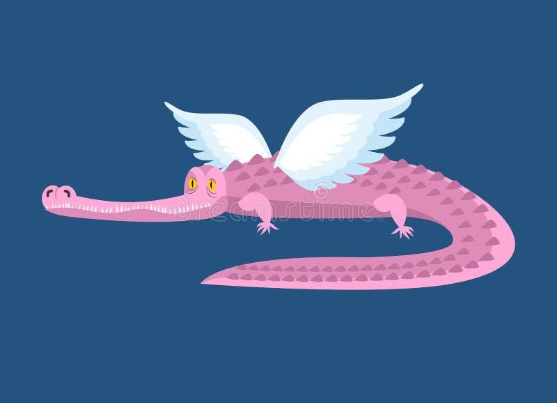 Ρόδινος κροκόδειλος με τα φτερά ζώο φανταστικό Καλό alligato νεράιδων ελεύθερη απεικόνιση δικαιώματος