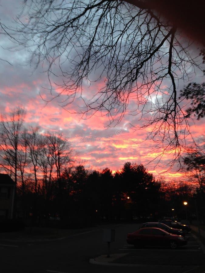 Ρόδινος ουρανός στο σούρουπο με τα φωτισμένα σύννεφα στοκ φωτογραφίες με δικαίωμα ελεύθερης χρήσης