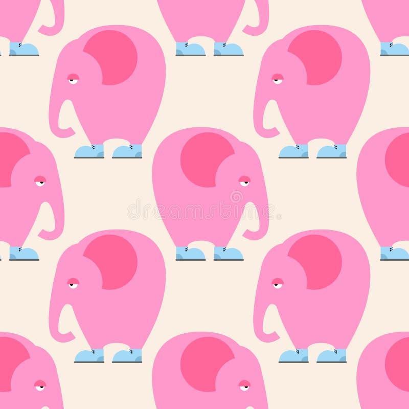 Ρόδινο άνευ ραφής σχέδιο ελεφάντων Υπόβαθρο του ζώου τσίρκων με διανυσματική απεικόνιση