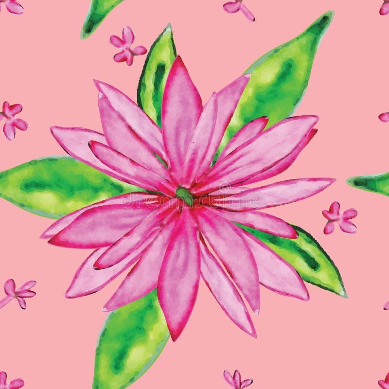Ρόδινο άνευ ραφής σχέδιο Watercolor λουλουδιών ελεύθερη απεικόνιση δικαιώματος