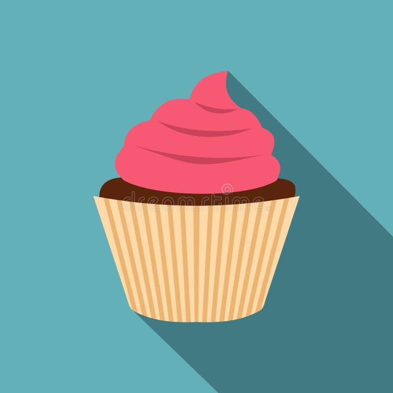 Ρόδινο εικονίδιο cupcake, επίπεδο ύφος απεικόνιση αποθεμάτων