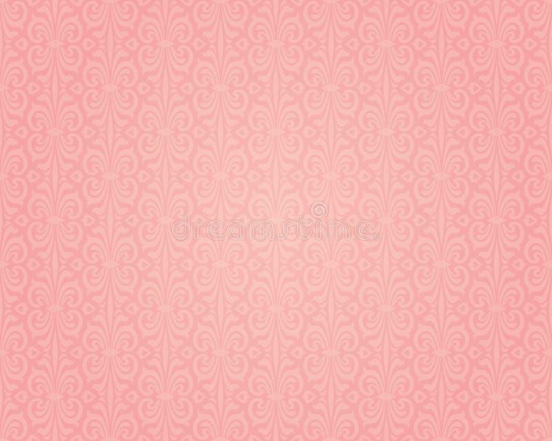 Ρόδινο ζωηρόχρωμο αναδρομικό σχέδιο σχεδίου υποβάθρου ταπετσαριών ελεύθερη απεικόνιση δικαιώματος