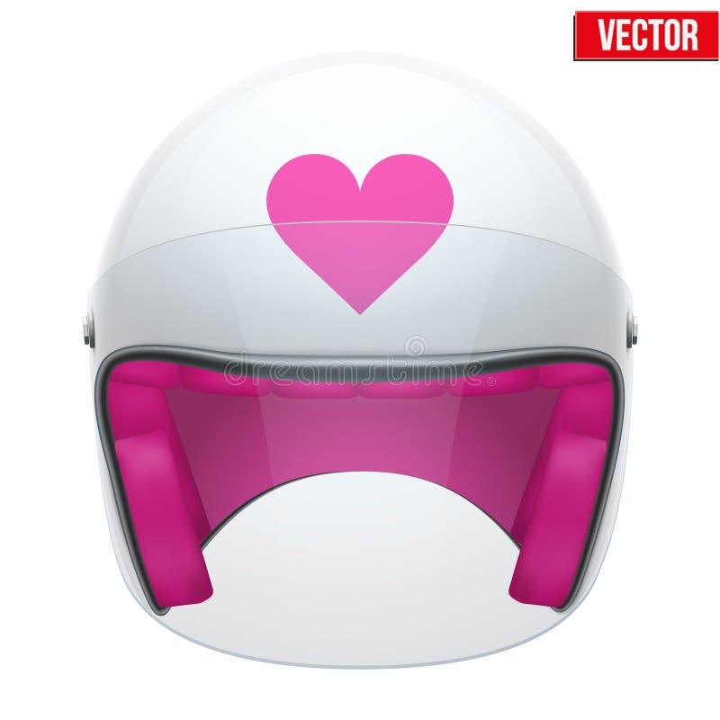 Ρόδινο θηλυκό κράνος μοτοσικλετών με το γείσο γυαλιού ελεύθερη απεικόνιση δικαιώματος