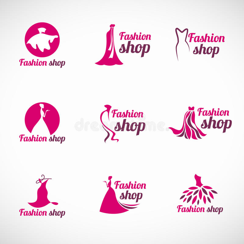 Ρόδινο διανυσματικό καθορισμένο σχέδιο λογότυπων καταστημάτων μόδας φορεμάτων γυναικών διανυσματική απεικόνιση