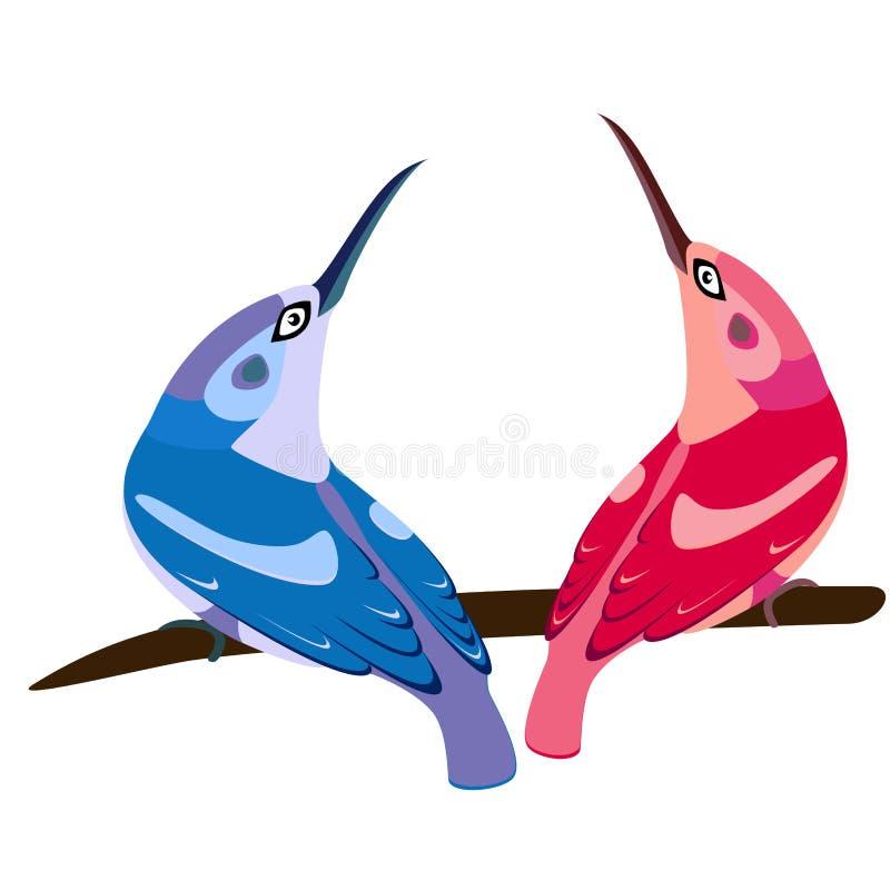 Ρόδινο και μπλε πουλί ελεύθερη απεικόνιση δικαιώματος