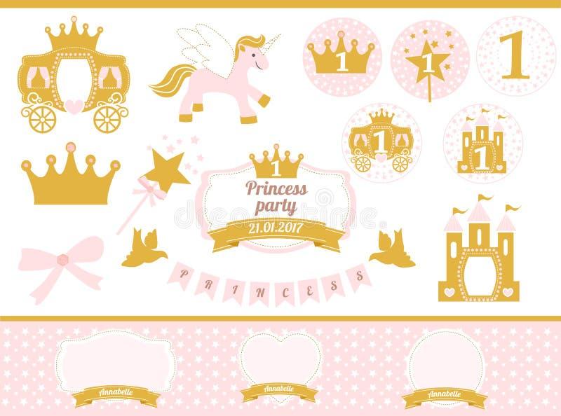 Ρόδινο και χρυσό ντεκόρ κομμάτων πριγκηπισσών Χαριτωμένα χρόνια πολλά στοιχεία προτύπων καρτών ελεύθερη απεικόνιση δικαιώματος
