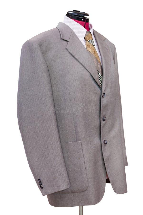 Ρόδινο μάλλινο σακάκι με το πουκάμισο και δεσμός που απομονώνεται στοκ εικόνες