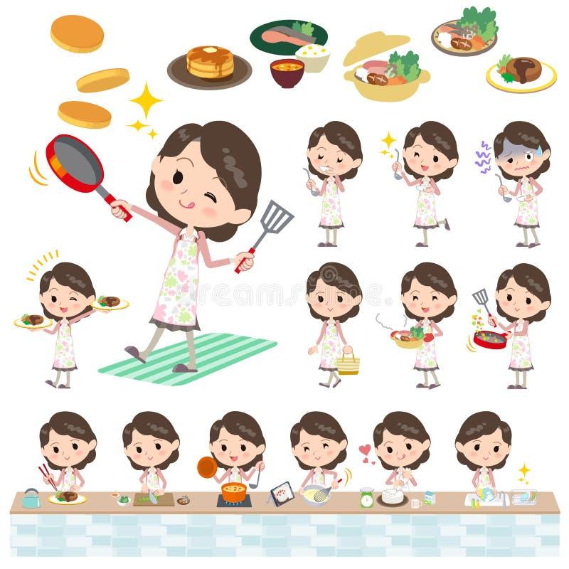 Ρόδινο μαγείρεμα γυναικών σακακιών μέσο απεικόνιση αποθεμάτων