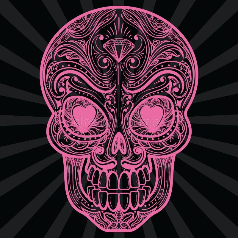 Ρόδινο μεξικάνικο tatoo κρανίων ζάχαρης ελεύθερη απεικόνιση δικαιώματος