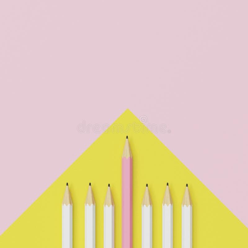Ρόδινο μολύβι και άσπρο μολύβι στο κίτρινο και ρόδινο υπόβαθρο στοκ φωτογραφία με δικαίωμα ελεύθερης χρήσης