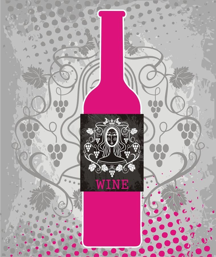 Ρόδινο μπουκάλι του κρασιού και της μαύρης ετικέτας διανυσματική απεικόνιση