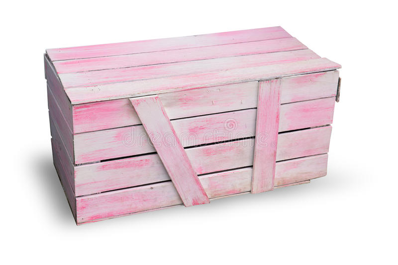 Ρόδινο ξύλινο κιβώτιο αγαθών φορτίου στοκ φωτογραφία με δικαίωμα ελεύθερης χρήσης