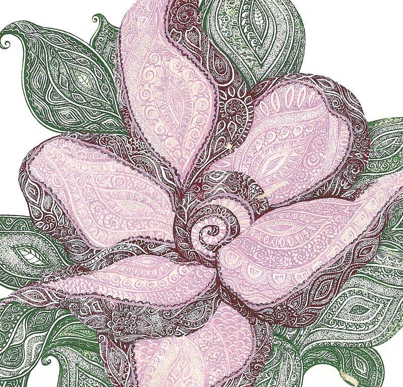 Ρόδινο λουλούδι διανυσματική απεικόνιση