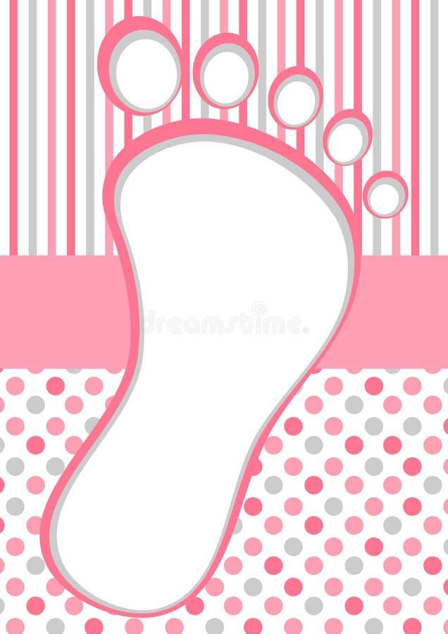 Ρόδινο πλαίσιο ποδιών μωρών με τα σημεία και τα λωρίδες Πόλκα διανυσματική απεικόνιση