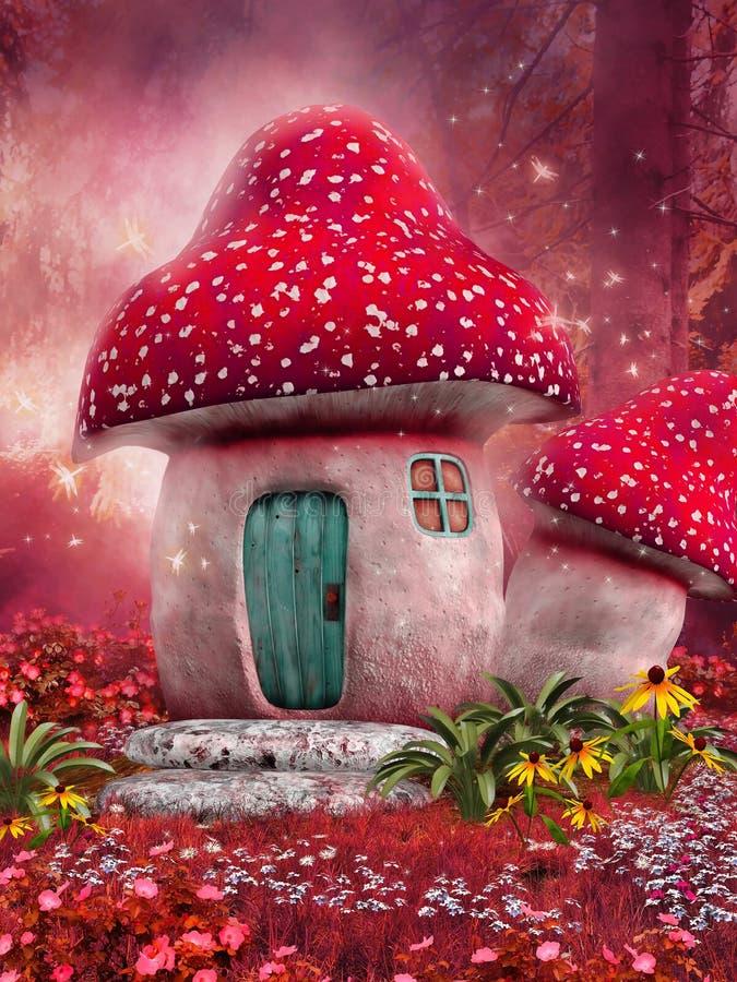 Ρόδινο σπίτι μανιταριών διανυσματική απεικόνιση