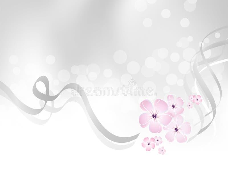 Ρόδινο σχέδιο λουλουδιών στο ασημένιο γκρίζο κλίμα απεικόνιση αποθεμάτων