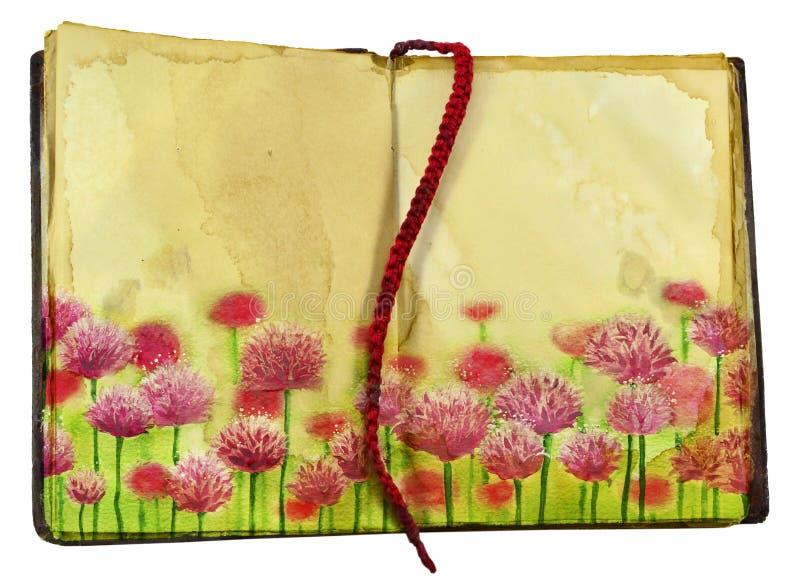 Ρόδινο τριφύλλι στις σελίδες βιβλίων στοκ εικόνα