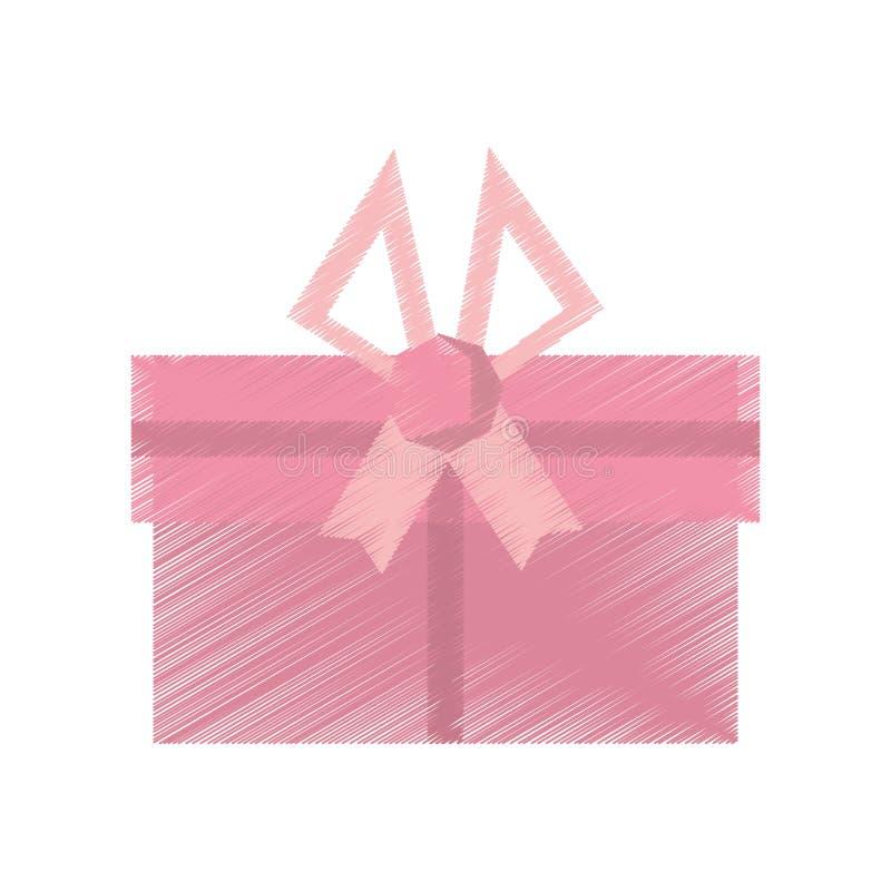 ρόδινο τόξο διακοσμήσεων κιβωτίων δώρων σχεδίων απεικόνιση αποθεμάτων