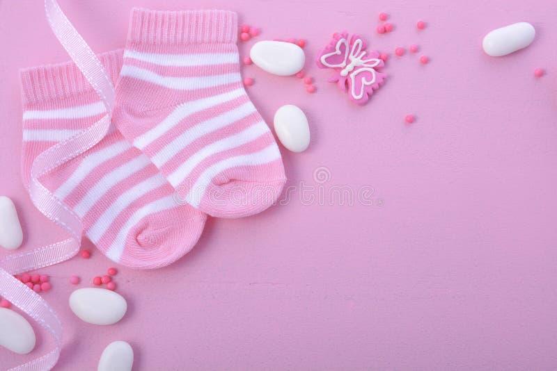 Ρόδινο υπόβαθρο βρεφικών σταθμών ντους μωρών στοκ εικόνες