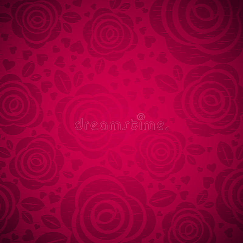 Ρόδινο υπόβαθρο με ροδαλό και την καρδιά, διάνυσμα διανυσματική απεικόνιση