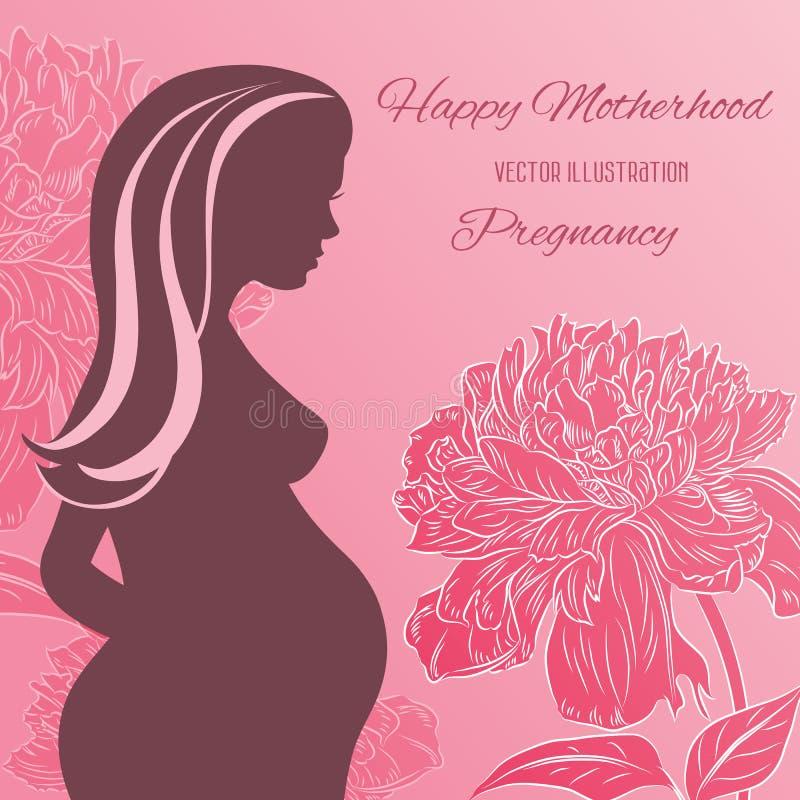 Ρόδινο υπόβαθρο με τα λουλούδια και τη σκιαγραφία μιας εγκύου γυναίκας διανυσματική απεικόνιση