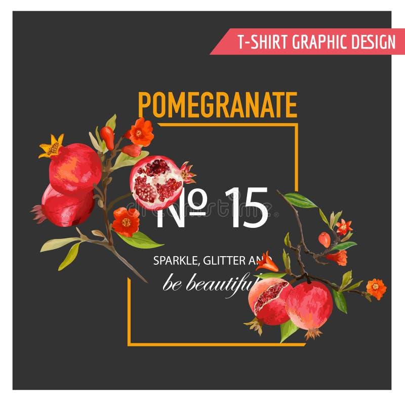 Ρόδι, λουλούδια και φύλλα Εξωτικό τροπικό έμβλημα απεικόνιση αποθεμάτων