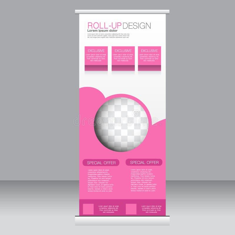 Ρόλος επάνω στο πρότυπο στάσεων εμβλημάτων Αφηρημένο υπόβαθρο για το σχέδιο, επιχείρηση, εκπαίδευση, διαφήμιση Ρόδινο χρώμα Διανυ ελεύθερη απεικόνιση δικαιώματος