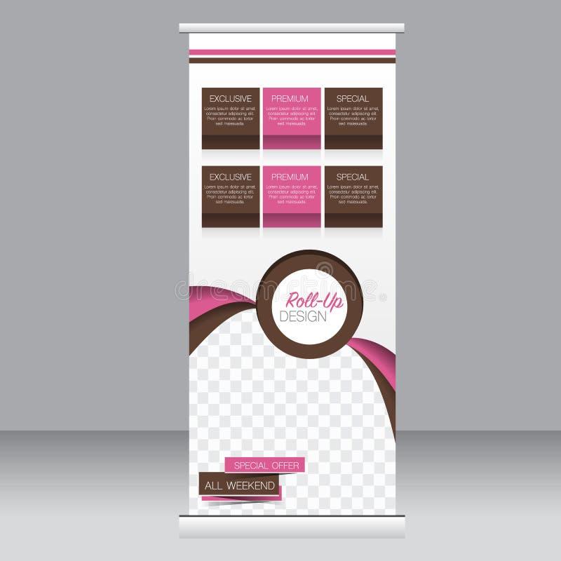 Ρόλος επάνω στο πρότυπο στάσεων εμβλημάτων Αφηρημένο υπόβαθρο για το σχέδιο, επιχείρηση, εκπαίδευση, διαφήμιση ρόδινο και καφετί  ελεύθερη απεικόνιση δικαιώματος