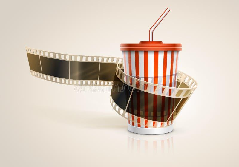 Ρόλος ταινιών καμερών και φλυτζάνι χαρτονιού με ένα άχυρο. απεικόνιση αποθεμάτων