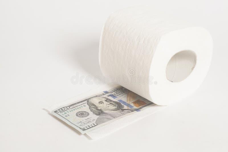 Ρόλος χαρτιού τουαλέτας του δολαρίου χρημάτων εκατό στοκ φωτογραφίες με δικαίωμα ελεύθερης χρήσης