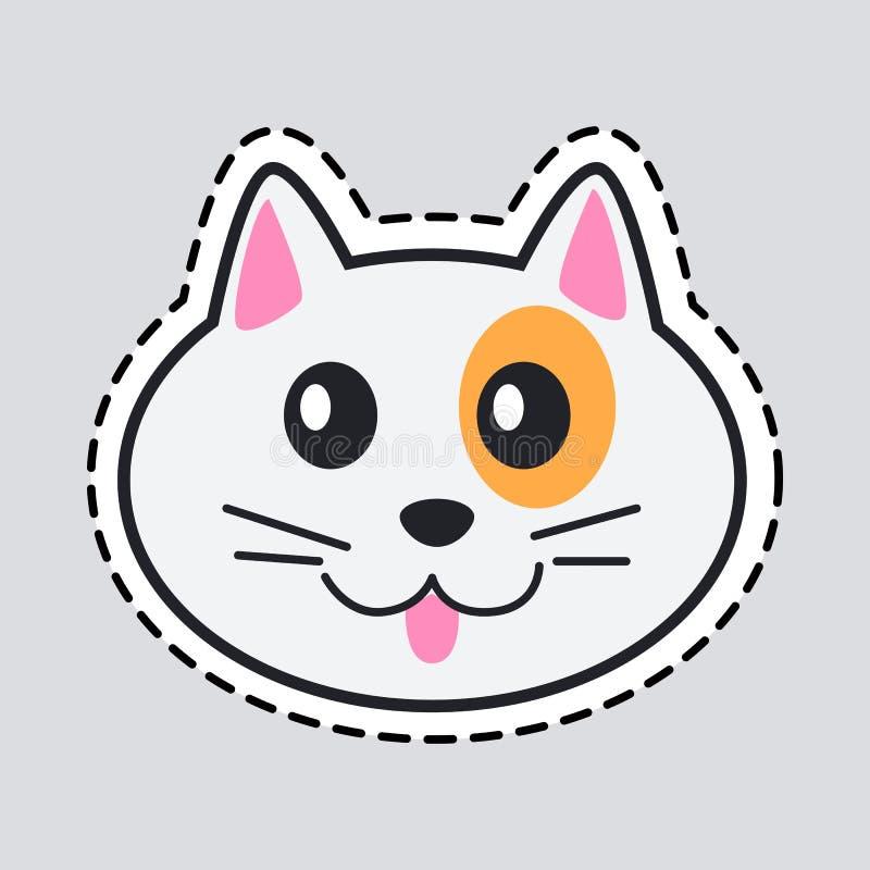 Ρύγχος της γάτας Περικοπή αυτό έξω Εικονίδιο του απομονωμένου ζώου ελεύθερη απεικόνιση δικαιώματος