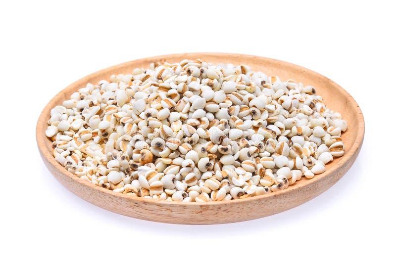 Ρύζι κεχριού, σιτάρια κεχριού στο ξύλινο πιάτο που απομονώνεται στο λευκό στοκ φωτογραφία