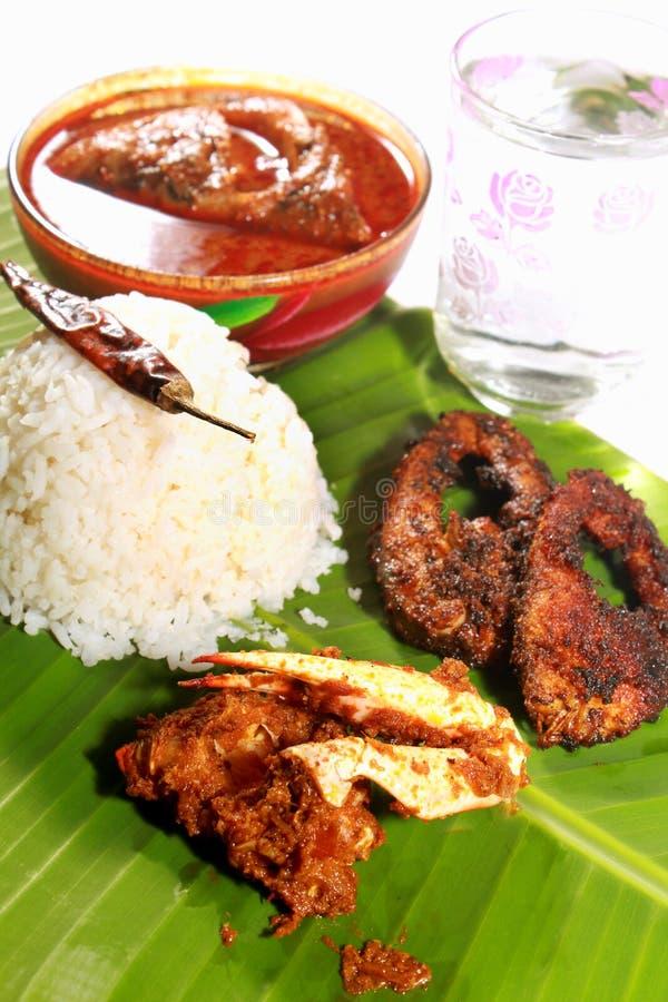 Ρύζι νότιου ινδικό γεύματος με το kulambu και το καβούρι ψαριών στοκ εικόνες με δικαίωμα ελεύθερης χρήσης