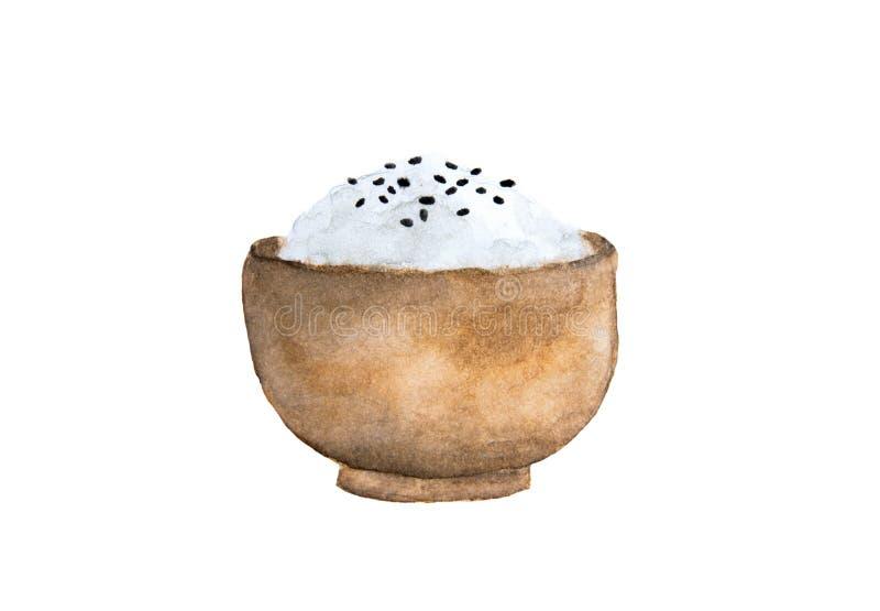 Ρύζι της Ιαπωνίας και μαύροι σπόροι σουσαμιού σε ένα ξύλινο κύπελλο ελεύθερη απεικόνιση δικαιώματος