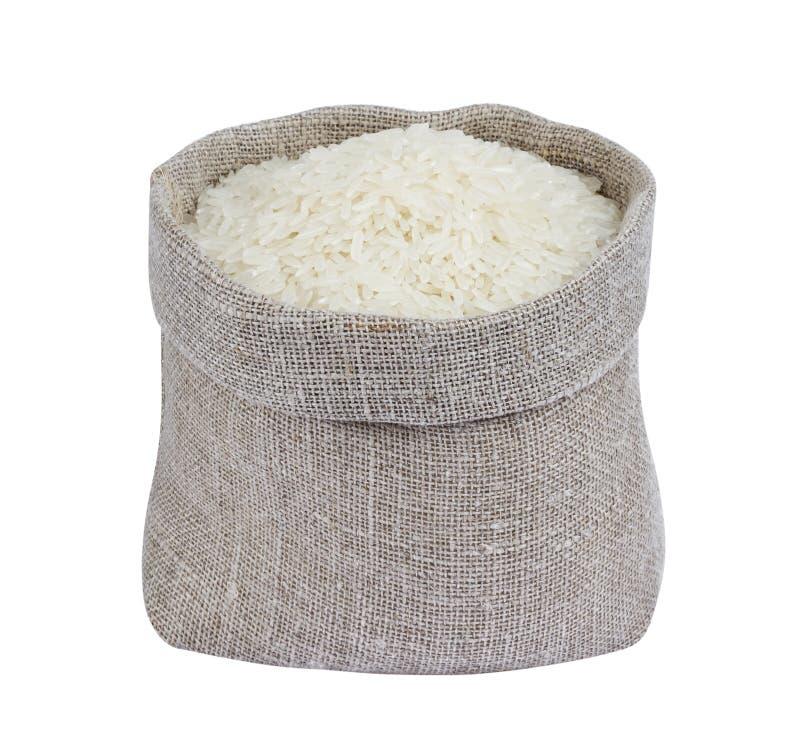 Ρύζι της Jasmine στην τσάντα που απομονώνεται στο άσπρο υπόβαθρο στοκ φωτογραφίες με δικαίωμα ελεύθερης χρήσης