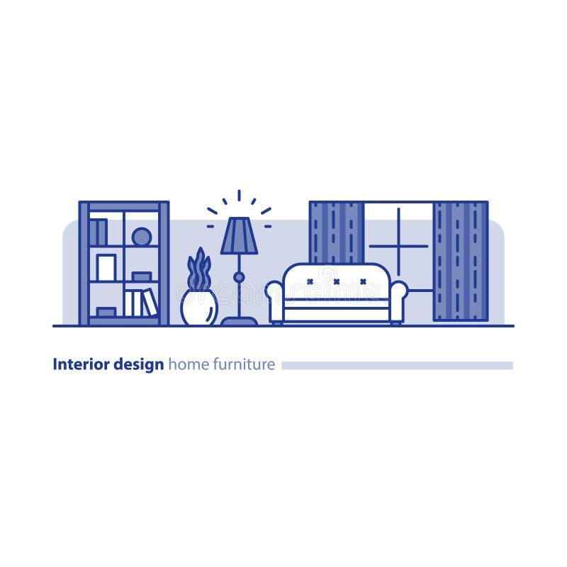 Ρύθμιση επίπλων στο καθιστικό, έννοια απλότητας, άνετο σπίτι, σύγχρονο εσωτερικό σχέδιο διανυσματική απεικόνιση